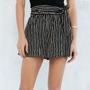 Silence and Noise Striped Shorts with Waist Tie